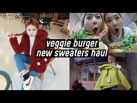Korean Vlog: Cooking Veggie Burger, New Sweaters from Rolaro