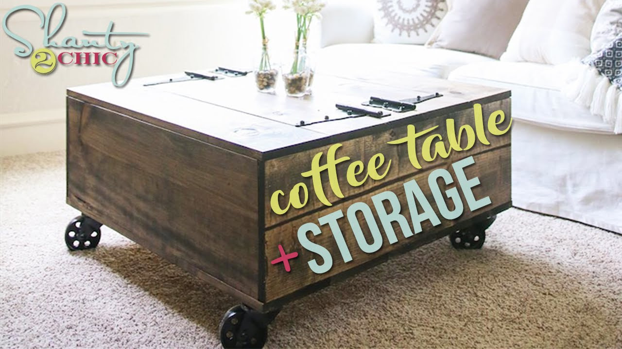 diy storage coffee table & youtube video tutorial! - shanty 2 chic