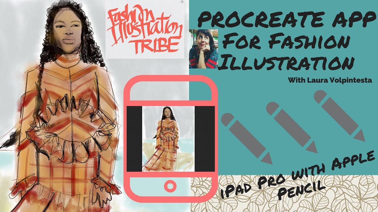 Fashion Illustration W Procreate App On Ipad Pro W Apple Pencil Sheer Stripes Ruffles Chevron Youtube