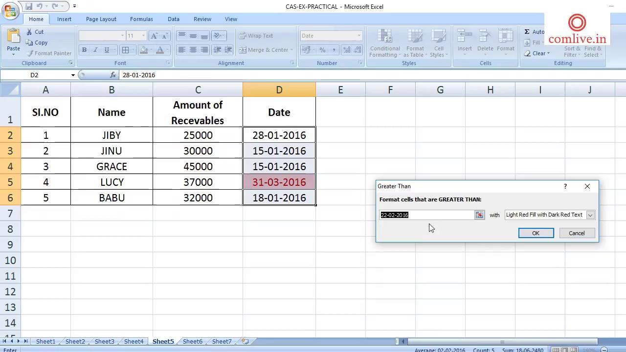 MS Excel – comlive in
