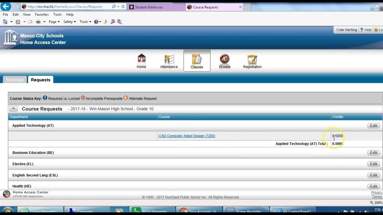 Home Access Center Hac Course Request Tutorial