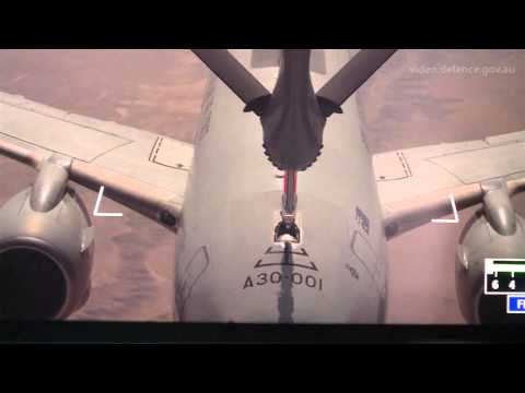 First KC 30A boom refuelling with an E 7A over Iraq