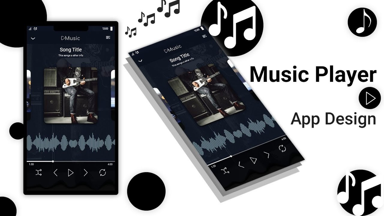 Daily UI music player app design || Speed art tutorial || By creative web