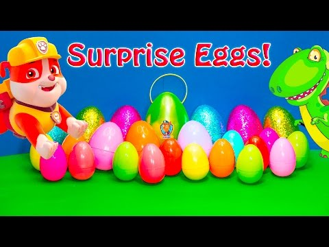 Dinosaur and Superhero Surprise Eggs with Paw Patrol and Mickey Mouse