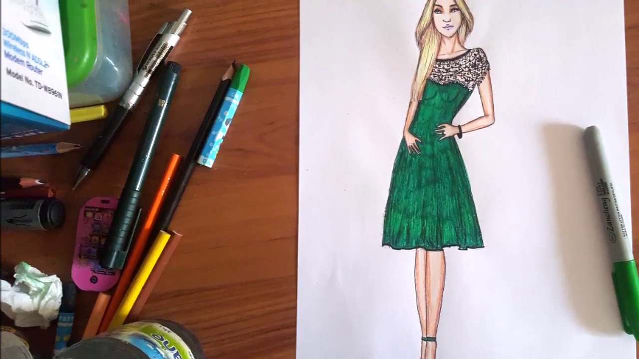 Fashion Illustration Draw Model Body Pose Hair Face Dress Youtube