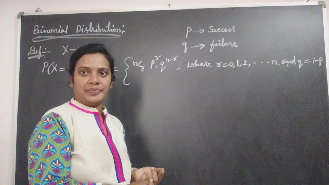 JNTU B.Tech Maths. Binomial Distribution definition  of Discrete Theoretical Probability.