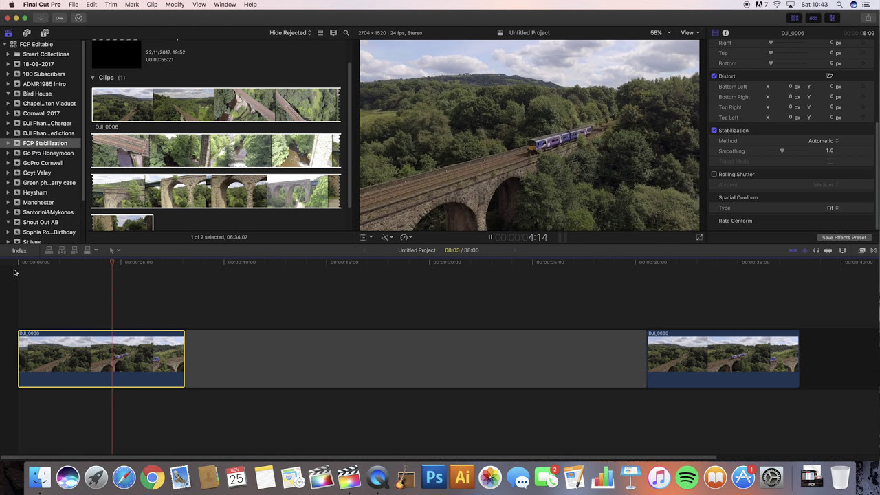 Final Cut Pro X Stabilization Tutorial! Get Awesome Smooth Shots In Fcpx  Tutorial For Beginners  Drone Uk Admr1985 05:27 HD