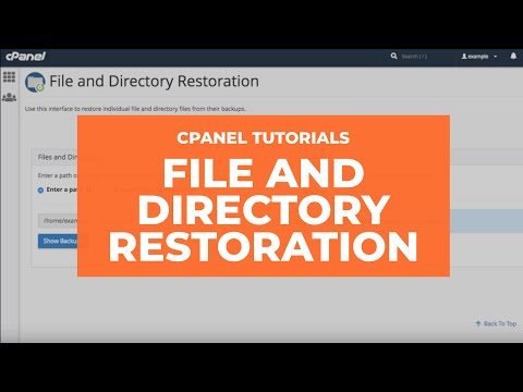 WHM Tutorials - File and Directory Restoration