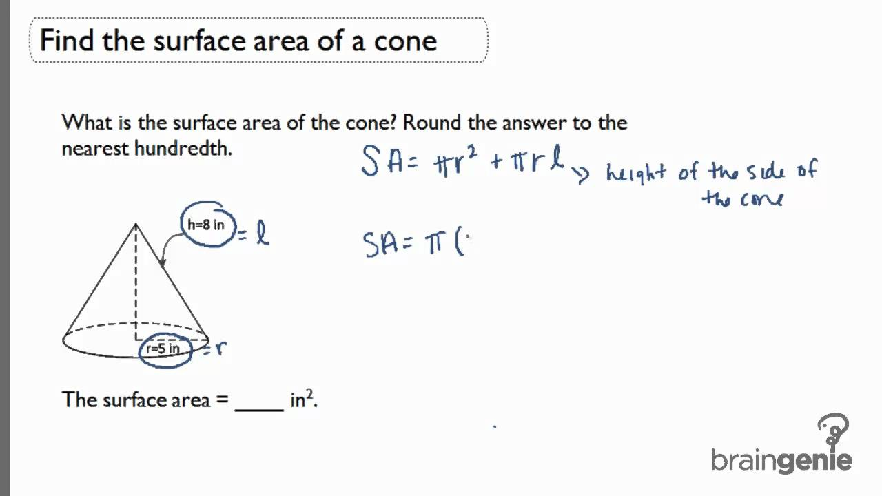 3 2 1 Find The Surface Area Of A Cone Youtube