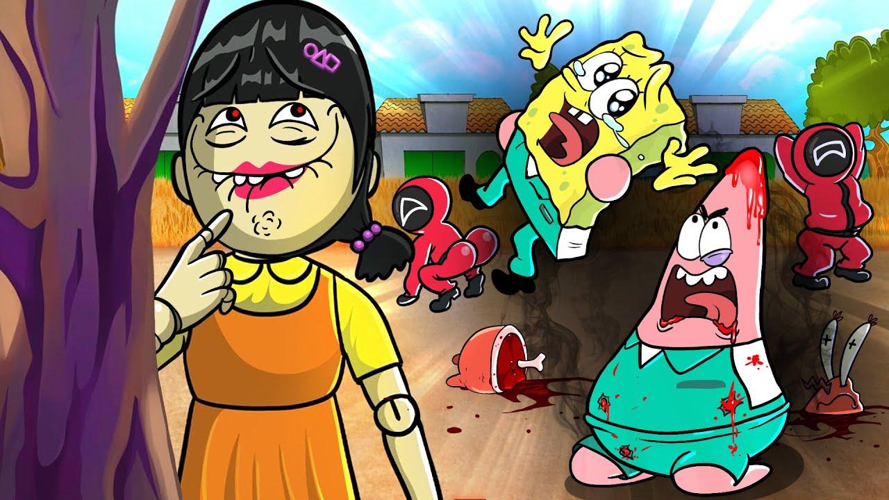 스폰지밥 오징어 게임🚦-SpongeBob Squid Game Sad Story- SpongeBob & Patrick Vs Squid Girl Animation   SLIME CAT