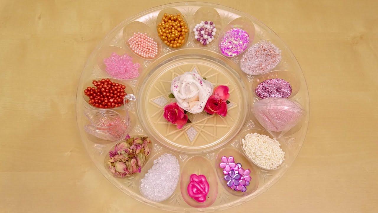 【ASMR】バラの綺麗な フラワースライムを作る❤DIY100円ショップの材料【音フェチ】何色に変わるかな?