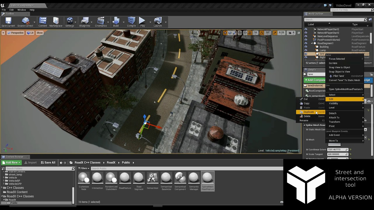 Street and intersection plugin for Unreal Engine 4 (lanes and markings)