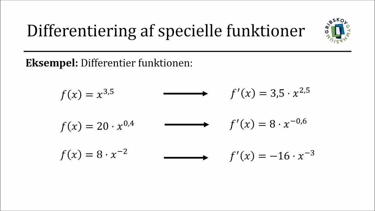 Differentialregning - Differentiering af specielle funktioner (potensfunktioner mm.)