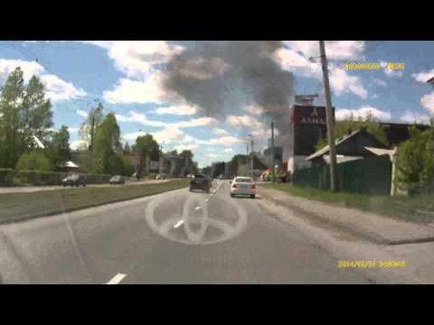 Пожар в Байкальске с видеорегистратора