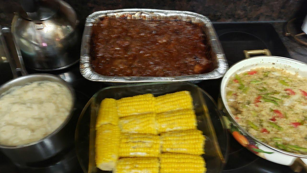 Sunday Dinner: Barbecue Beef, Creamed Potatoes, Veggie Medley & Corn!
