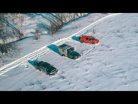 UAZ Cargo Camper VS Toyota Hilux In Snow
