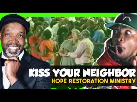 Pastor Tells Congregation To Kiss RANDOM NEIGHBOR? Hope Restoration Ministries Church Members Kiss