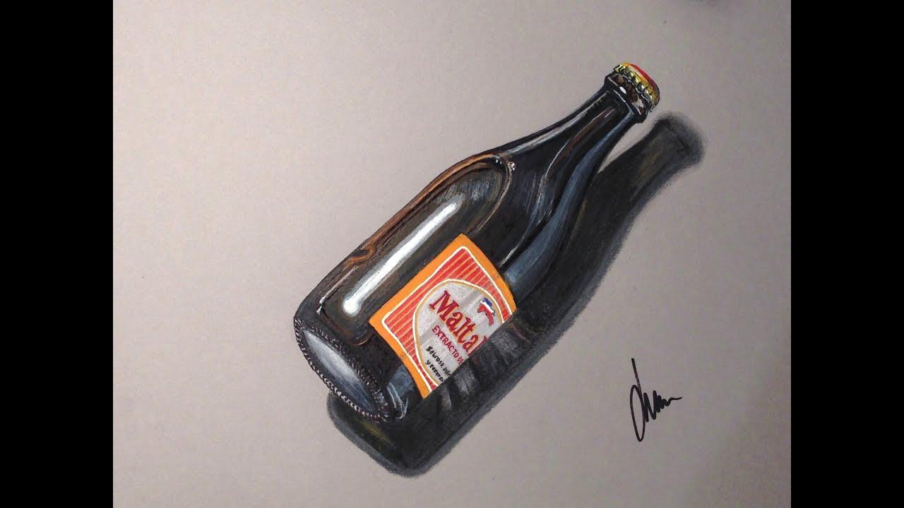 """Botella De Cerveza Dibujo: Como Hacer Dibujo / Botella Cerveza"""" Malta India """" Hyper"""