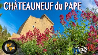 French wine tour from above - CHATEAUNEUF DU PAPE - 4K