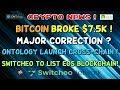 BITCOIN to $7.5k, Pullback happening? SWITCHEO list EOS blockchain! ONTOLOGY release cross-chain!