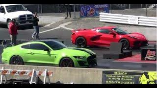 2020 CORVETTE vs 2020 SHELBY GT500 MUSTANG 1/4 MILE DRAG RACE ATCO NJ