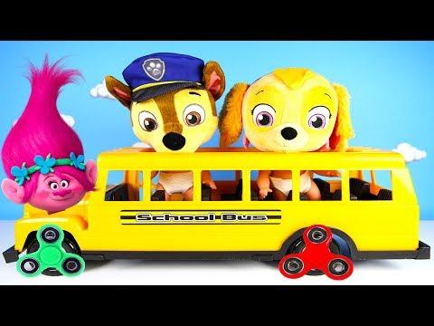 School Bus Fun With Paw Patrol | Chase & Skye Learn Colors | Fidget Spinners Trolls Poppy