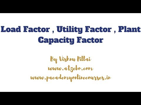 Load Factor , Utility Factor , Plant Capacity Factor