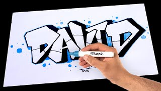 Download Video How To Draw Graffiti name [DAVID]  Drawing on paper MP3 3GP MP4