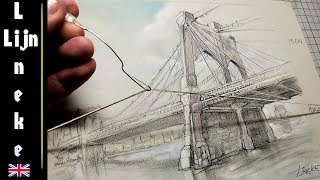 How to draw a Bridge in Perspective for beginners