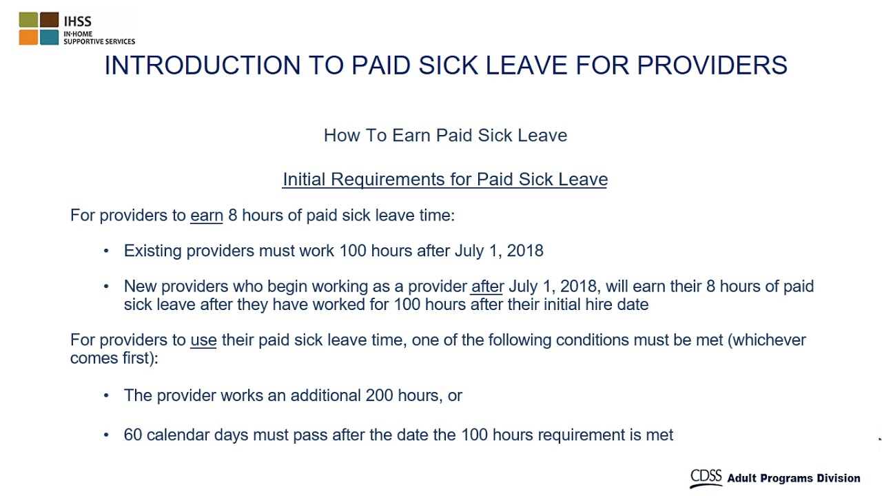 Paid Sick Leave for IHSS Care Providers | County of Fresno