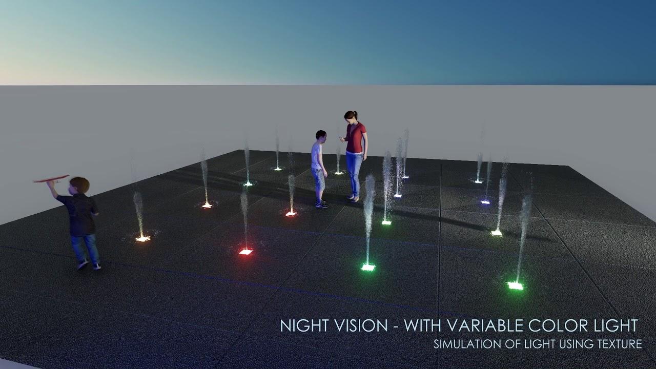 animated and illuminated fountain study - lumion
