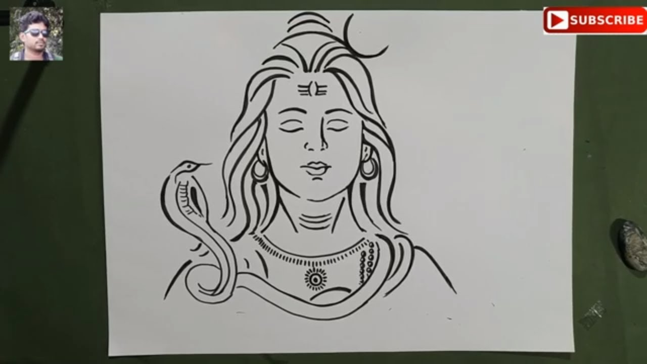 very easy line art shiv thakur,how to draw lord shiva with snake for  shivaratri special, mahadeb