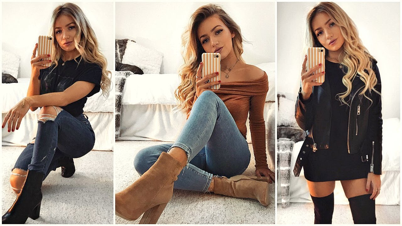 EVERYDAY OUTFITS WITH BOOTS! / Outfit Ideas 2018   YouTube