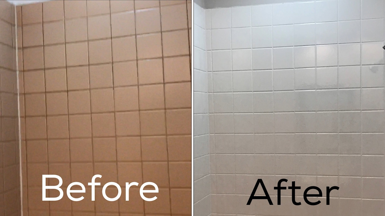 Refinishing ceramic tile in my bathroom (before and after