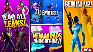 *NEW* Fortnite: 9.40 ALL LEAKED SKINS & EMOTES! (Gemini v2, Tsuki, Business Hip, World Cup Cape)