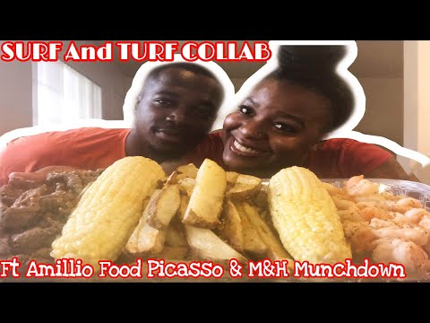 Surf and Turf MUKBANG Collab ft. M&H Munchdown and Amillio Food Picasso