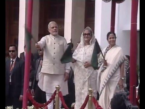 PM Modi & Bangladesh PM Sheikh Hasina flags off bus services between India & Bangladesh