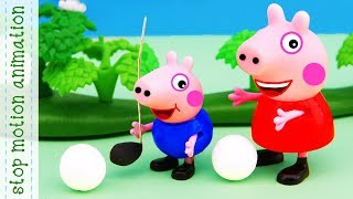 Peppa is playing golf.  Peppa pig toys stop motion animation english episodes 2018