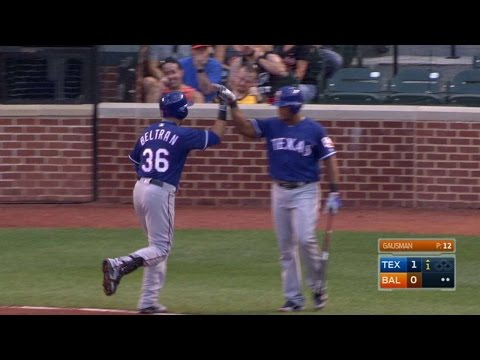 TEX@BAL: Beltran belts his first homer with Rangers