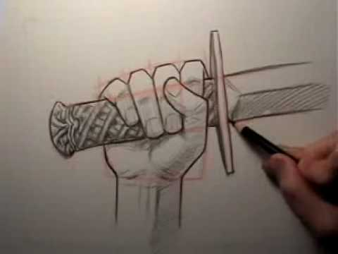 How to Draw a Hand Holding a Sword - YouTubeGrabbing Hand Drawing