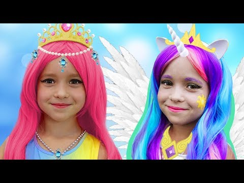 Sofia Pretend Princess Celestia and Barbie