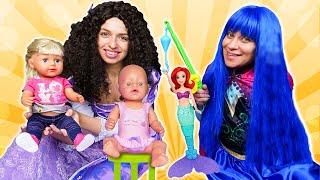 Видео с куклами – БЕБИ БОН и Принцессы Диснея на рыбалке! – Новые игры для девочек одевалки.