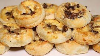Горячая закуска Рулетики с грибами и сыром Готовится быстро съедается еще быстрей