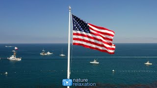 OLD GLORY FLYING (4K) 1 HR Fixed-Angle Video Scene + Ocean Sounds | Catalina Island, California thumbnail