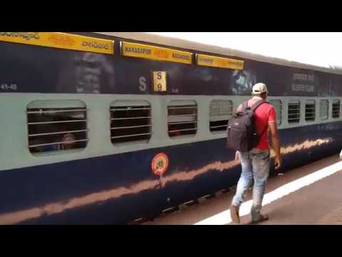 17213 Nagarsol-Narsapur express Part 1: Arriving Vijayawada Jn. in style with Gooty WDP4D