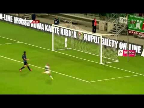 Bramka Sebino Plaku w meczu III rundy eliminacji do Ligi Europy: Ślask Wrocław-Club Brugge (