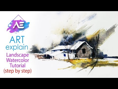 Sunny Morning Watercolor  Landscape Tutorial | How to paint a watercolor landscape | Art Explain