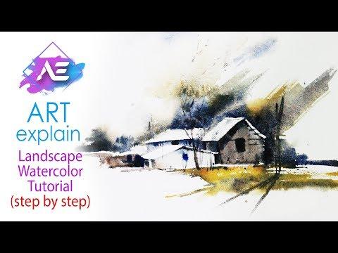 Sunny Morning Watercolor  Landscape Tutorial | How to paint a watercolor landscape | Art Explain