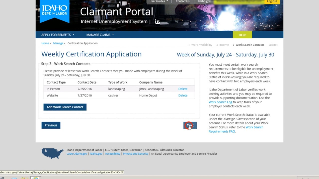 File Weekly Certification - Screen-by-Screen