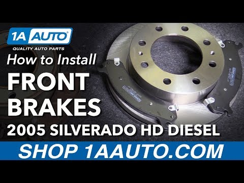 How to Install Replace Front Brake Pads Rotors 2005 Chevy Silverado 2500 HD Diesel